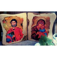 "Ръчно изработена икона ""Свети Мина и Богородица"""