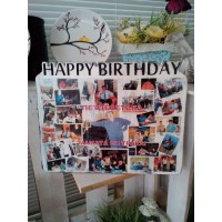 "Отпечатък върху дърво ""Happy Birthday"""